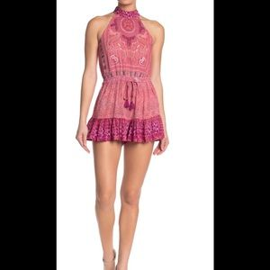 Nwt Mariposa Embroidered Printed Mock Neck Romper